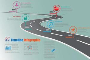 Business roadmap timeline infographic template with road sign vector