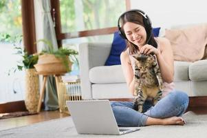Happy working at home concept photo