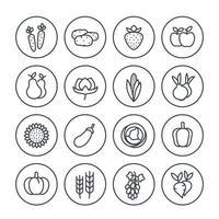 Harvest, farming line icons set on white vector