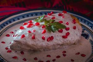 Chile en Nogada in a talavera plate from Puebla photo
