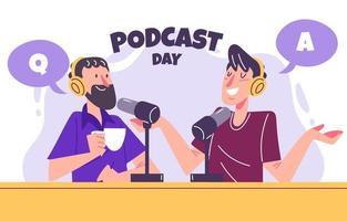 personas haciendo concepto de podcast vector