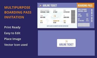 Boarding pass design composition with name of airline time and name vector