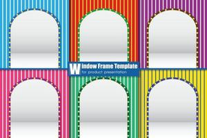Window frame template for product presentation, vector illustration