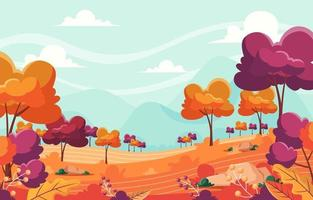 Scenery of Autumn Landscape with Trees and Mountain vector