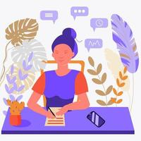 A woman secretary sits at a desk and writes. Work in the office. vector