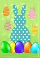 Easter card with a dotted rabbit and eggs. Symbols of the spring vector