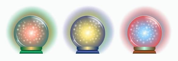 Set of magical colorful spheres for prediction. Crystal balls vector