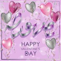 Greeting card for Valentine's Day. Balloons and serpentine on a pink vector