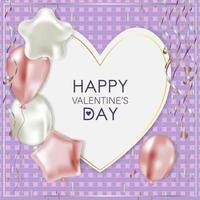 Greeting card for Valentine's Day. Balloons and serpentine vector
