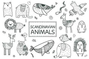 scandinavian set of cute animals whale, lion, eagle, elephant, llama, vector