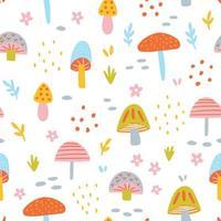 Hand drawn mushroom pattern vector