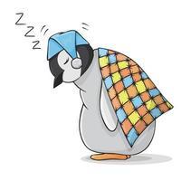Cute Sleeping Baby Penguin under the Blanket vector
