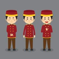 Bellboy Character with Various Expression vector