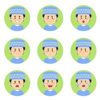 Muslim Avatar With Various Expression vector