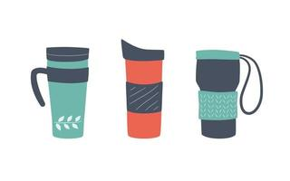 Reusable cups, thermo mug and tumblers with cover vector