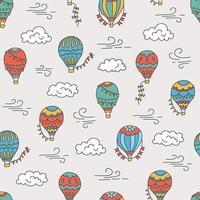 globos de aire caliente y nubes. color dibujado a mano de patrones sin fisuras vector