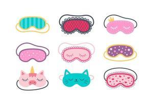 Set of sleep masks for eyes. Night accessory to healthy sleep vector