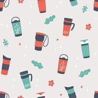 Reusable cups, thermo mug and tumblers for  coffee. seamless pattern vector