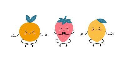 Cute fruits in yoga pose. Orange, strawberry and lemon practicing yoga vector