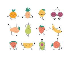 Cute fruits and berries in yoga pose practicing yoga and meditates vector