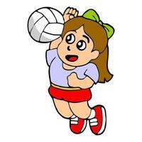 cartoon illustration of girls playing volleyball vector