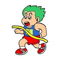 cute cartoon illustration boy running competition vector