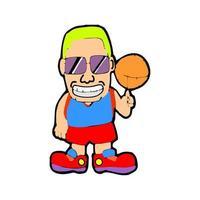 cartoon illustration of a boy playing basketball vector