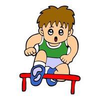 cartoon illustration of a boy running hurdling vector