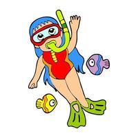 diving sports girl cartoon illustration vector