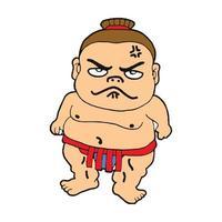 sumo athlete cute cartoon illustration vector