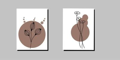 Modern minimalist floral abstract aesthetic illustration vector