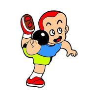 boy cartoon illustration sport shoot put vector