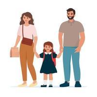 los padres llevan a sus hijos a la escuela. hora de ir a la escuela vector