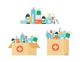 Delivery pharmacy service. Paper bag with a set of drugs and bottles vector