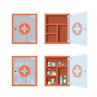 Red medical cabinet with glass transparent door. Medicine chest vector