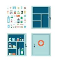 Medicine chest full of drugs, pills and bottles. Empty medical cabinet vector
