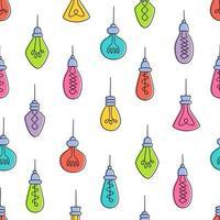 Hand drawn seamless pattern of Light Bulbs. vector
