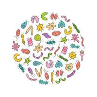 Microbes, virus, bacterias and pathogen icons colorful set. vector