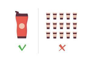 Reusable coffee cup vs single use cup. Takeaway mug and tumbler vector