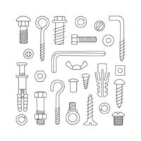 Set of fasteners. Bolts, screws, nuts, dowels and rivets vector