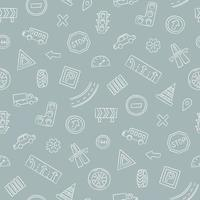 Doodle seamless pattern with cars, road signs, markings vector