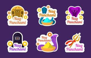 Nag Panchami India Sticker Collection vector