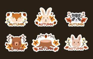 Autumn Flora and Fauna Sticker Collection vector