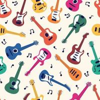 Seamless pattern of guitars. String musical instrument vector