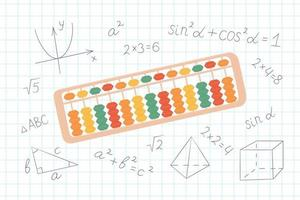 Abacus soroban for learning mental arithmetic for kids. vector