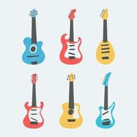 Set of acoustic and electric guitars. String musical instrument vector