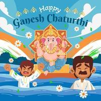 Ganesh Chaturthi Celebration on River vector