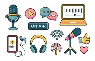 Podcast Concept Icon Set vector