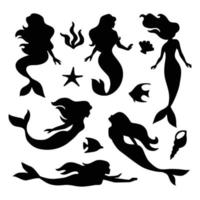 Mermaid Silhouette Collection vector