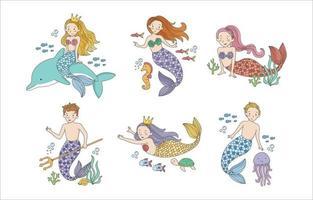 Cute Mermaid and Merman Collection vector